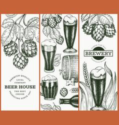 Set three beer design templates hand drawn pub vector