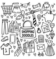 shopping doodle set vector image