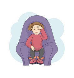 sick little female character cartoon isolated on vector image