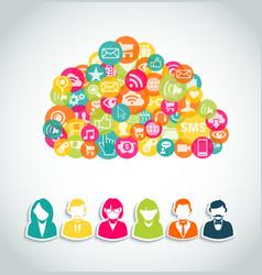 Social media cloud computing concept vector image