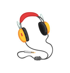 Stereo headphones with adapter cord music vector