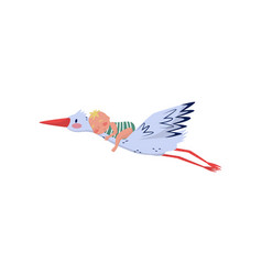 stork flying with cute little child on back birds vector image