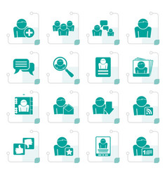 Stylized social media and network icons vector
