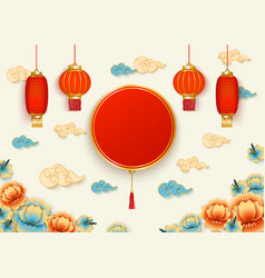 template with circle and chinese lanterns and vector image