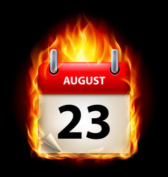 twenty-third august in calendar burning icon on vector image