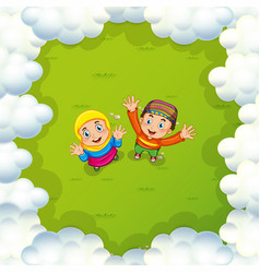 Two muslim kids waving hands vector