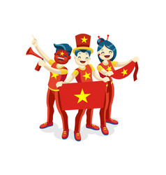 Vietnameses with vietnam flag symbol vector