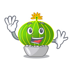 Waving plant notocactus magnifica on character pot vector