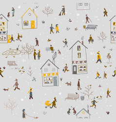 Winter seamless pattern with people walking in vector