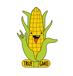 with cartoon yellow corn showing rock sign vector image