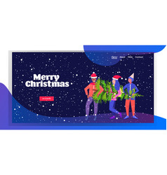 women carrying freshly cut down christmas tree vector image
