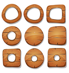 wood rings circles and shapes for ui game vector image