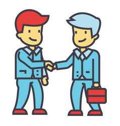 businessmen handshaking business partnership vector image