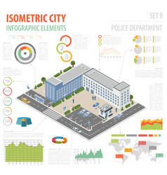 Flat 3d isometric police department and city map vector