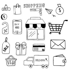 hand drawn of shopping doodle art design vector image vector image