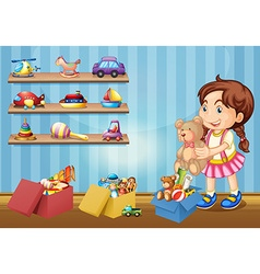 Little girl and many toys vector image