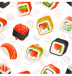 sushi and rolls seamless pattern japanese food vector image