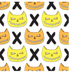 cats skull seamless pattern halloween background vector image