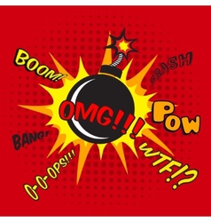 Comic bomb explosion poster vector image