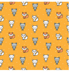 cute seamless pattern with bears and foxes for vector image vector image