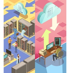 Information Center Isometric Banners vector image