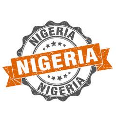 nigeria round ribbon seal vector image vector image