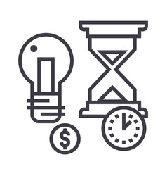 time management hourglass coin timer vector image