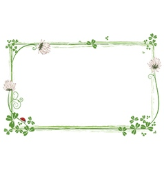 frame with clover and ladybird vector image