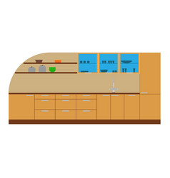 kitchen cabinet furniture interior icon design vector image vector image