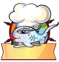 restaurant fish menu on rudder vector image