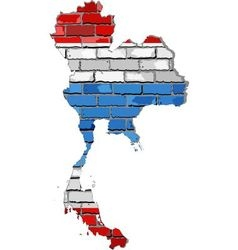 Thailand map on a brick wall vector image
