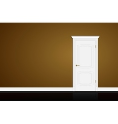 Closed white door on brown wall vector image