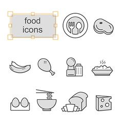 Thin line icons set Food vector image vector image