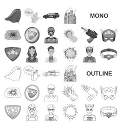 A fantastic superhero monochrom icons in set vector