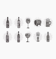 Alcohol beer glassware bottle and glass of wine vector