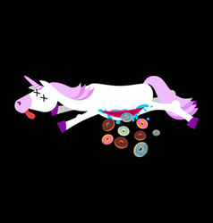 anatomy unicorn from belly intestines fell donut vector image