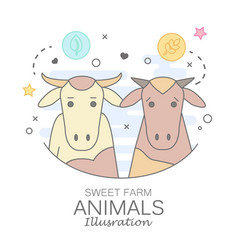 Animal set of portrait in flat graphics vector