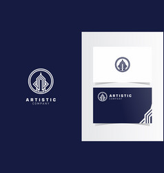 artistic building logomark with business card vector image