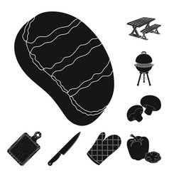 Barbecue and equipment black icons in set vector