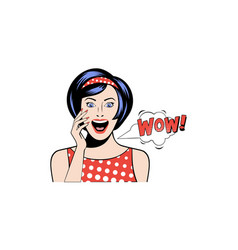 beautiful surprised woman saying wow excited girl vector image