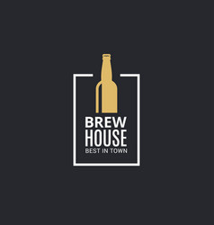 beer bottle logo brew house icon on black vector image