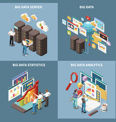 big data analytics isometric icon set vector image