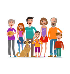 big happy family group people parents and vector image