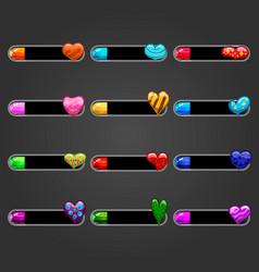 Big set bar downloader with hearts vector