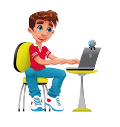 Boy and computer vector image