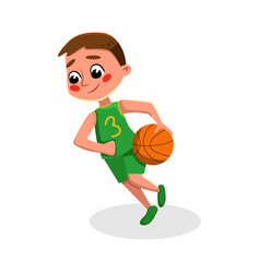 Boy playing basketball kid practicing sports game vector