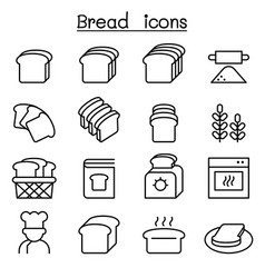 Bread loaf bakery pastry icon set in thin line vector