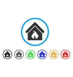 building fire rounded icon vector image