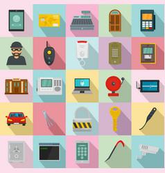 Burglar robber plunderer icons set flat style vector