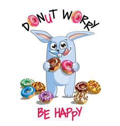 cartoon rabbit with donuts vector image